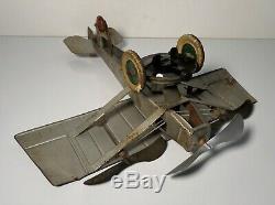 VINTAGE 1920's KINGSBURY PLANE TRI-MOTOR TIN LITHO WINDUP AIRPLANE