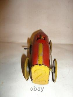 VINTAGE 1920s Girard Tinplate Wind Up Boat Tail Racer Tin Toy Race Car #2
