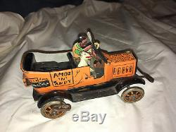 VINTAGE 1930's MARX AMOS AND ANDY FRESH AIR TAXI TIN litho WINDUP WORKS