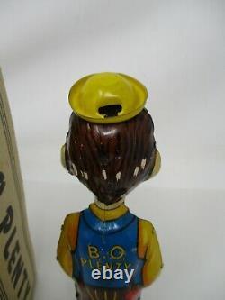 VINTAGE 1930's MARX DICK TRACY'S B. O. PLENTY WIND UP TOY WITH BOX & WORKS