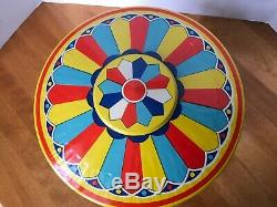 VINTAGE 1950'S CHEIN & CO TIN WIND UP MERRY GO ROUND CAROUSEL TOY WithBOX