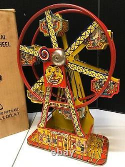 VINTAGE 1950s J. CHEIN HERCULES FERRIS WHEEL MECHANICAL WIND-UP ORIGINAL BOX