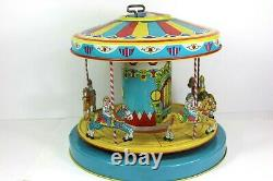 VINTAGE 1950s J. CHEIN MERRY GO ROUND CAROUSEL TIN LITHO WIND UP TOY with BOX