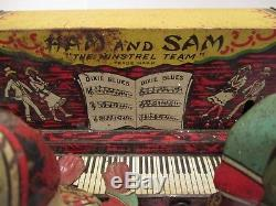 VINTAGE FERDINAND STRAUSS 1921 HAM AND SAM With Remnants of Box WINDUP TIN TOY