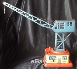 VINTAGE GERMAN CRANE LITHO ANTIQUE TIN TOY WIND UP 1950s RARE FREE SHIPPING