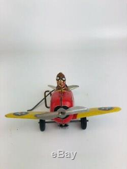 VINTAGE MARX ROLLOVER PLANE 5 #12 TIN LITHO WIND UP TOY STUNT PLANE WithBOX Works