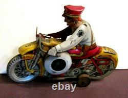 VINTAGE MARX TOY TIN LITHO WIND UP MOTORCYCLE ROOKIE COP WithSIREN