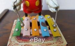 VINTAGE MARX Tin Toy MICKEY MOUSE PLAYING XYLOPHONE Nice! Walt Disney