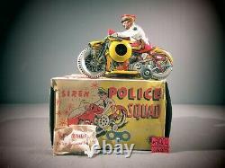 VINTAGE Marx Siren Mechanical Police Squad Motorcycle TIN WIND UP TOY C-7 O. B