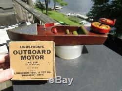 VINTAGE ORIGINAL 1930's LINDSTROM WOOD WINDUP OUTBOARD BOAT & MOTOR & BOX EXC