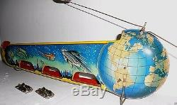 VINTAGE TECHNOFIX TERRA LUNA TIN WIND UP SPACE TOY with ORBITING SHIPS & BOX