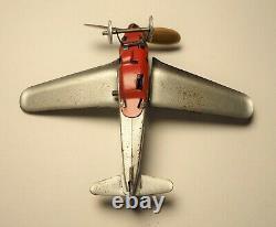 VINTAGE TIN LITHO WINDUP PAYA CIRCLING AIRPLANES & HANGER TOY with Box Plane