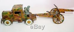 VINTAGE VERY RARE PRE-WAR TIPPCO ARMY TRUCK WithSOLDIERS TOWING A HOWITZER