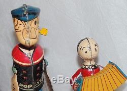 VTG 1936 Popeye & Olive Oyl Mechanical Tin Litho Wind Up Marx Jigger Dancing Toy