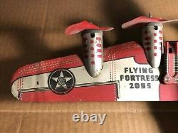 VTG Marx 14 Tin Windup Army Airplane Flying Fortress 2095 Works USA