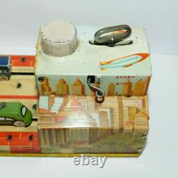 Very Neat Vintage Unique Art Mfg Tin Toy Wind Up Lincoln Tunnel Complete & Works