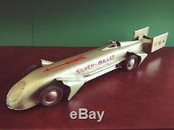 Very Rare 1930's RICO 57cm Tin Wind-up Silver Bullet Record Race Car Racer