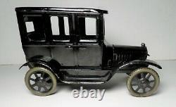 Vintage 1920s German Bing Tin Litho Windup Four Door Model T Black Sedan