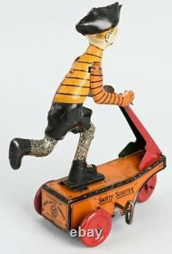 Vintage 1920s Marx Smitty Scooter Tin Wind Up Toy
