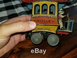 Vintage 1920s Toonerville Trolley Wind-Up Litho Tin Toy, Works, Germany