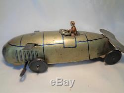 Vintage 1925 German Moskowitz Rennwagen 22 Race Car Tin Litho Wind Up RARE