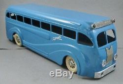 Vintage 1930's Kingsbury Pressed Steel 18 Wind Up Toy Greyhound Bus, MINT