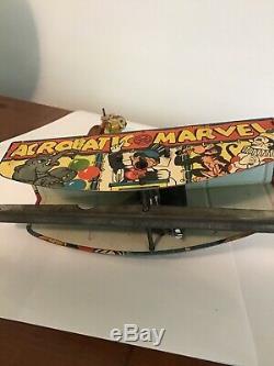 Vintage 1930's MARX LItho Tin Windup Toy Acrobatic Marvel Monkey