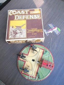 Vintage 1930's Marx Coast Defense Tin Litho Wind-up Toy With Box