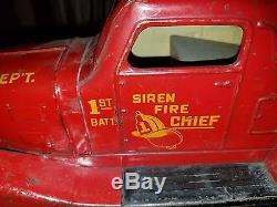 Vintage 1930's Marx Siren Fire Chief 1st Batt FD Wind up Car