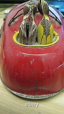Vintage 1930's Tin Lindstrom Skeeter Bumper Car Wind-Up Works Great! NO KEY