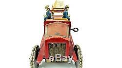Vintage 1930s Distler German Tin Fire Engine Ladder Truck w Firemen WORKING