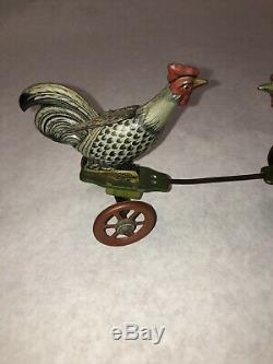 Vintage 1930s Einfalt Germany Tin Windup Fighting Roosters Chicken Toy