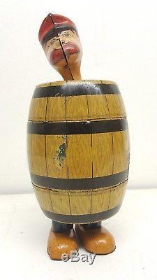 Vintage 1930s J. Chein Barnacle Bill In Barrel Tin Litho Wind-up Walker Toy
