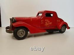 Vintage 1930s Louis Marx Toys Siren Fire Chief Wind Up Car