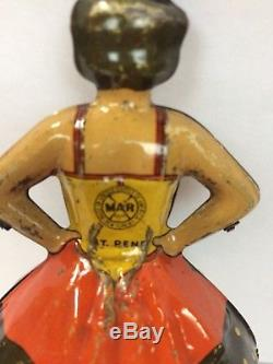Vintage 1930s MARX Ballerina Skater Spinning Top Tin Lithograph Toy WithKey WORKS
