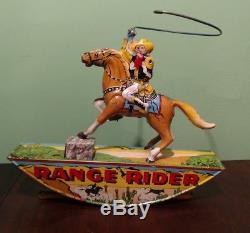 Vintage 1930s Marx RANGE RIDER Tin Litho Wind Up Toy Cowboy Western Horse