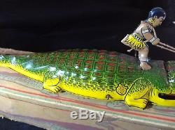Vintage 1930s Tin Litho Wind Up Toy J Chein Alligator With Rider with box