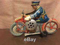 Vintage 1930s era Tin Litho Marx Toy Mechanical Windup Police Motorcycle DM-206