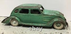 Vintage 1937 Kingsbury Airflow Pressed Steel Lincoln Zephyr Wind Up Working
