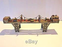 Vintage 1937 Louis Marx & Co. BUSY BRIDGE Toy Tin Litho Wind-up