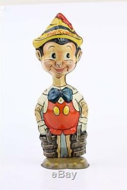 Vintage 1939 Disney Marx Walking PINOCCHIO Tin Toy Wind-Up 8.5 Fixed Eyes