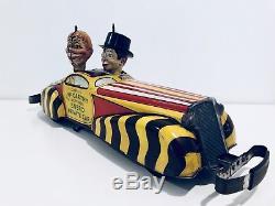 Vintage 1939 Marx Charlie McCarthy Moritmer Snerd Private Car Windup Tin Toy WKs