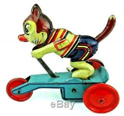 Vintage 1940's MS, Dreirad (Michael Seidel) Cat On Scooter Wind-Up WORKING NM