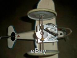 Vintage 1940's Marx Popeye The Pilot Tin Windup Toy Plane Working 7 Long