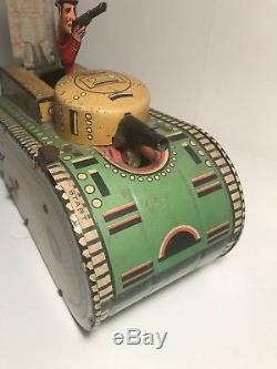 Vintage 1940's Marx Tin Litho Wind Up Sparkling Doughboy Army Tank Toy USA