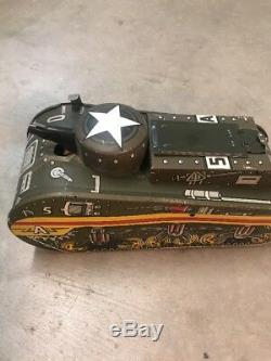 Vintage 1940's Marx Tin Litho Wind Up Sparkling Doughboy Army Tank Toy WithBox USA