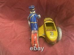 Vintage 1940s Marx Tin Litho Wind Up Rookie Police Cop Motorcycle with Sidecar