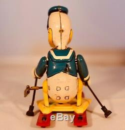 Vintage 1950 Donald Duck On Skis Linemar Toys Japan Wind Up Tin Lithograph