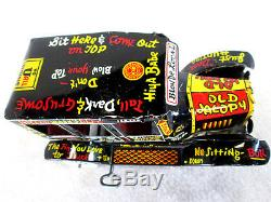 Vintage 1950's Marx tin lithographed wind up old jalopy toy car works