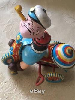 Vintage 1950's Popeye Tin Litho Linemar Tricycle Wind-up Works Great! Missing A
